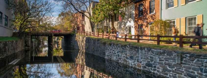 C&O Canal with stone walls and buildings alongside
